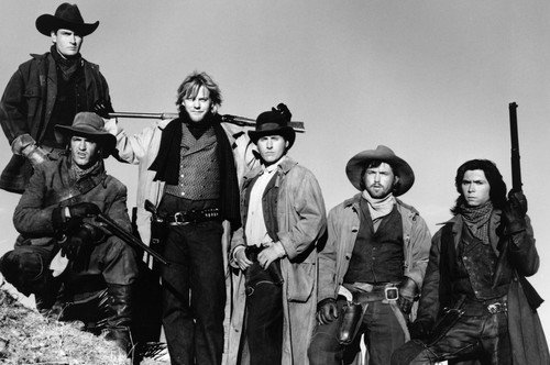 Charlie Sheen and Kiefer Sutherland and Emilio Estevez and Lou Diamond Phillips and Dermot Mulroney and Casey Siemaszko in Young Guns Outlaw portrait 24x36 Poster