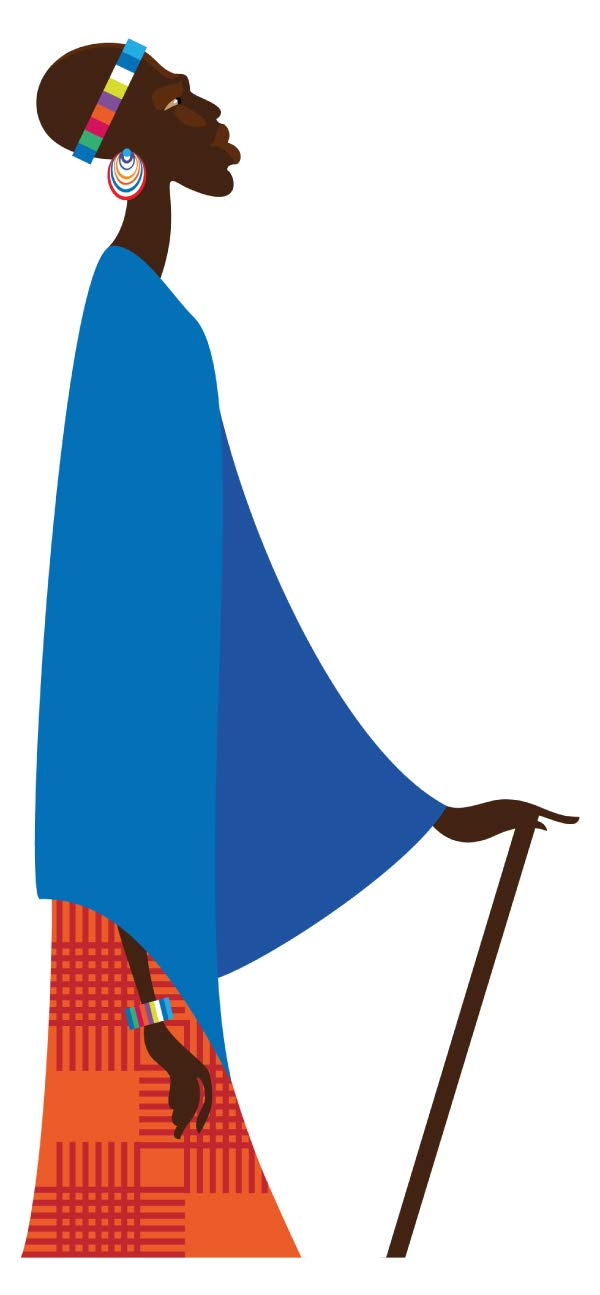 Wandtattoo Afrika Massai mit Stock Wandsticker Deko Figur Silhouette Kenia