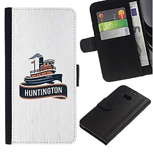 Paccase / Billetera de Cuero Caso del tirón Titular de la tarjeta Carcasa Funda para - huntington ship - HTC One M8