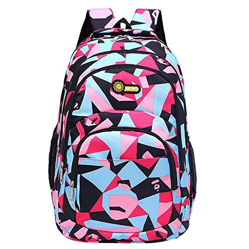 Unisex Backpack Color Blocks Ptint Hiking School Student Travel Bags For Teenage Girls Boys Comfortable Burden Reduction Backpack (Pink) by Luca-backpack
