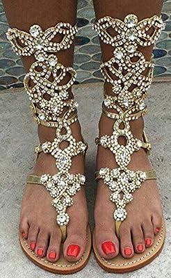 Women's Rhinestone Gladiator Sandals,Plus Size,Summer Flat Sandals,Low Heel Flip Flops Sandals