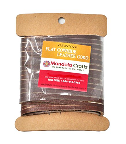- Mandala Crafts Flat Cowhide Genuine Leather String Cord Lace, Rawhide Strip for Jewelry Making, Clothing, Shoelaces, Baseball Gloves, and Saddles (3mm 7.65 Yards, Light Brown)