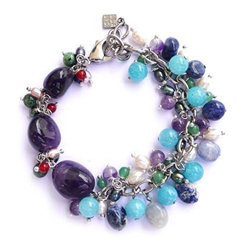 Bracelet acier Améthyste, Aigue marine, Rubis-zoisite, sodalite, jade,Véritables perles de culture d'eau douce, Lapis lazuli, Cornaline. Attache/Boucle en Acier.