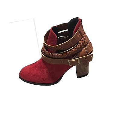 YiYLunneo Botas de Tacón Alto para Mujer Invierno Botines Rojos Moda Damas Otoño Zapatos Fiesta Boda Sexy Remache Hebil CN 37-42: Amazon.es: Ropa y ...