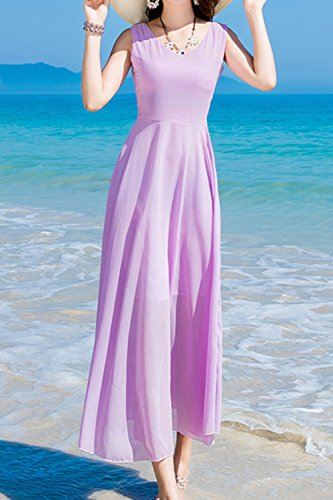 Verano De Mujer Sin Mangas Con Cuello En V Vestido De Prom De Boho Maxi Beach Purple