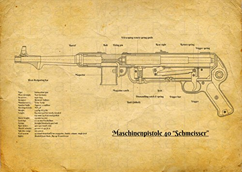 UpCrafts Studio Design MP40 SUBMACHINE GUN Blueprint - WW2 German gun Legends Mp-40 pistol wall decor, Schmeisser Maschinenpistole