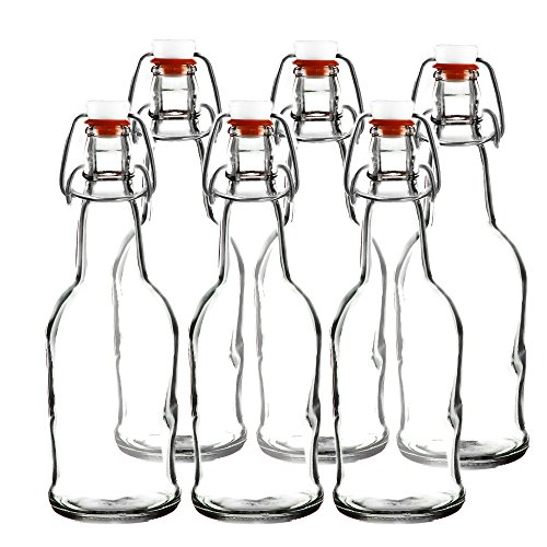 Easy Cap Beer Bottles - Kombucha Bottles - 16 oz. - Clear 6 pack - EZ Cap -- Original Cherry Blossom Hardware Bottles (6, Clear Mason Jar Bottles) (Jar 16 Ounce Blossom)