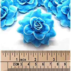 "(24) Silk Blue Diamond Roses Flower Head - 1.75"" - Artificial Flowers Heads Fabric Floral Supplies Wholesale Lot for Wedding Flowers Accessories Make Bridal Hair Clips Headbands Dress 3"
