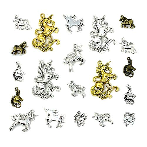 Unicorn Horse Magical Lucky Charms Collection - JIALEEY Mixed Unicorn Animals Charms Pendants for Jewelry Making DIY Findings -