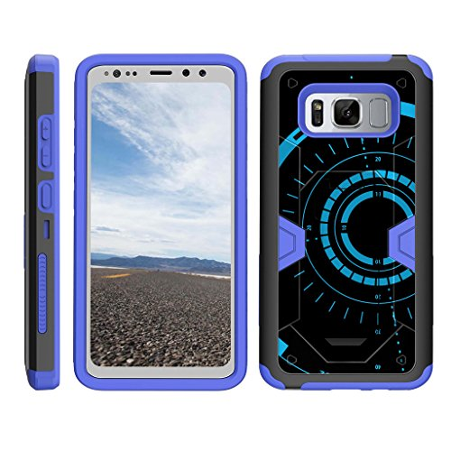 TurtleArmor | Compatible with Samsung Galaxy S8 Active Case | G892 [Clip Caliber] Advanced Durable Armor Impact Silicone Belt Clip Holster Kickstand Blue Case - Blue Tron Target