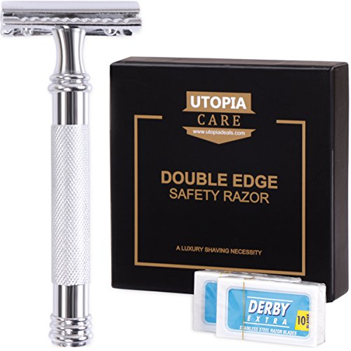 Double Edge Safety Razor with 20 Derby Blades - Chrome Finish 4 inch Long Handle, Rust Free and Unbreakable - By Utopia Care