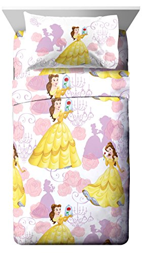 Disney Beauty & The Beast True Beauty 4 Piece Full Sheet Set, 4 (Belle Gift Set)