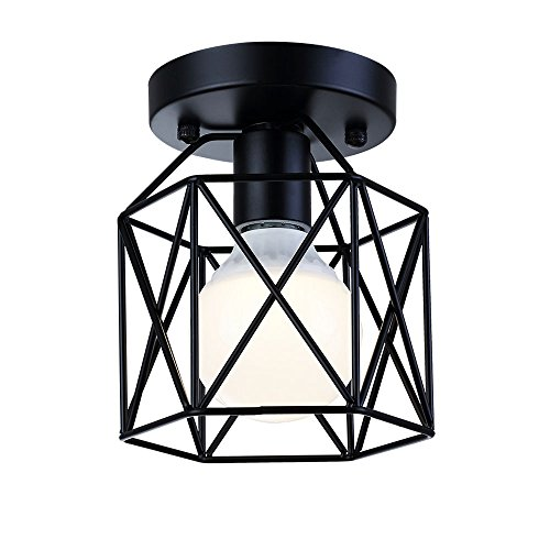 LIUSUN LIULU Mini Rustic Semi-Flush Mount Ceiling Lights,Metal Retro Industrial Flush Mount Ceiling Pendant Light Fixture for Hallway(Black) (Light Bedroom Fixtures Pendant)