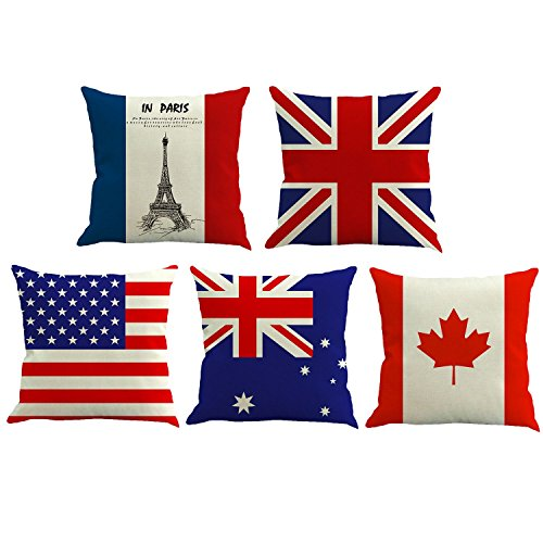 wcase USA American Flag Throw Pillow Covers Retro Star Stripe American Pillowcase Linen Cushion Cover with Zipper Home Decor for Sofa Slipcover Decorative 18x18 inch Set of 5 ()