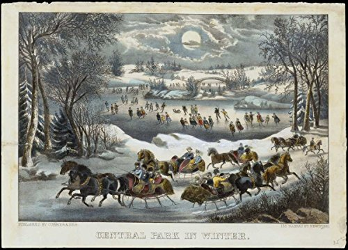 Historic Pictoric Fine Art Print | Currier & Ives | Central Park in Winter | Vintage Wall Art | 24in x 16in