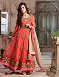 Exclusive Peach Color Designer Partywear Anarkali Suit