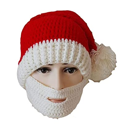 b20073d6f24 Image Unavailable. Image not available for. Color  Pavian Christmas Santa  Claus Beard Hat Halloween Beanie Cap Knit Winter Warm Windproof Face Mask  Hat