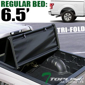 Topline Autopart Tri Fold Soft Vinyl Truck Bed Tonneau Cover For 15-18 Ford F150 Regular (Standard)/Super (Extended)/Super Crew (Crew) Cab 6.5 Feet (78