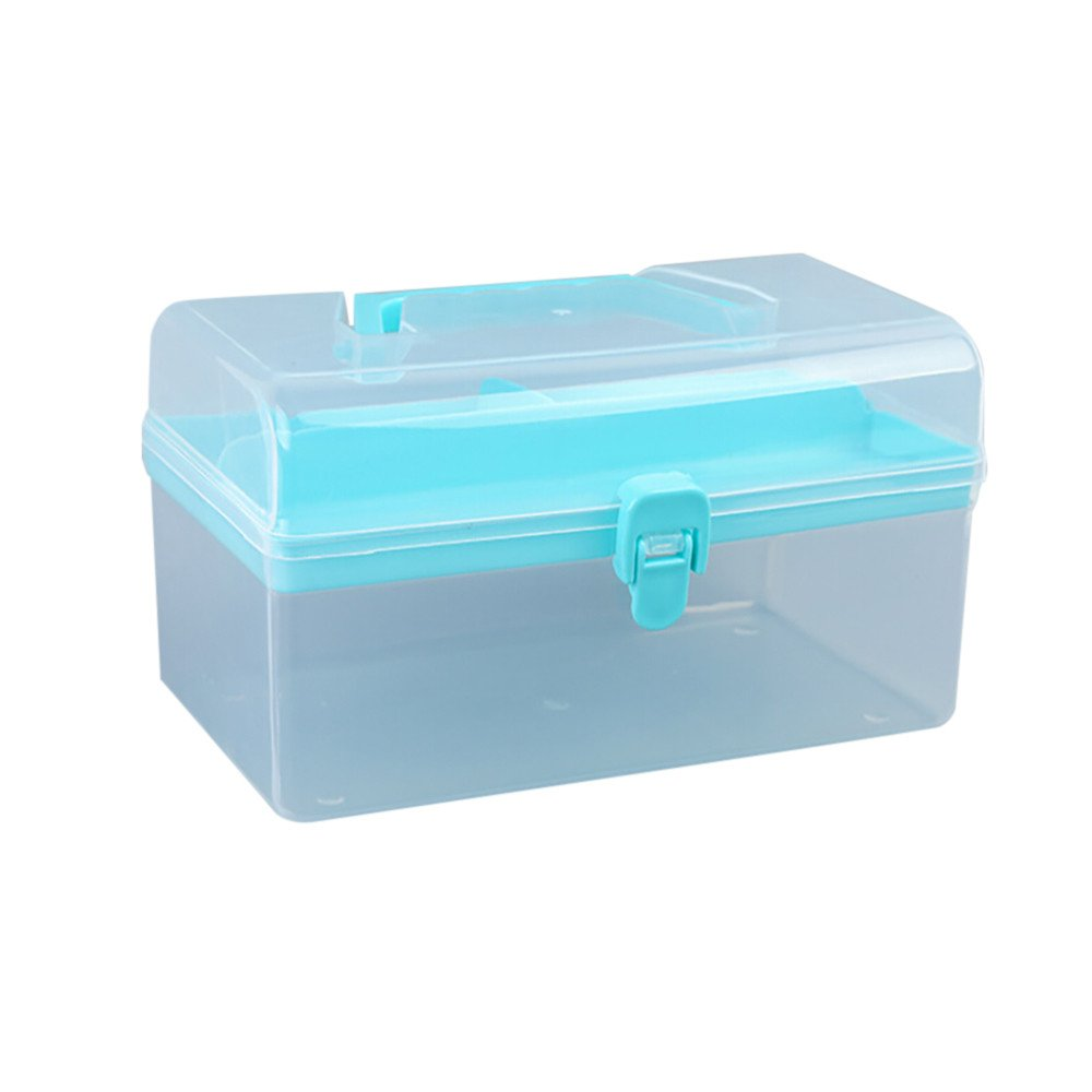 MOVEmen Storage Box, Clothing Storage Bag Clear Plastic Multipurpose Portable Handled Organizer Storage Box Storage Box with Lid Storage Supplies Office Supplies (Sky Blue)