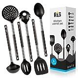 nylon cookware utensils - Cooking Utensil Set - 6 Best Kitchen Utensils Set - Black Nylon Cooking Utensils - Kitchen Gadgets Gifts Prime
