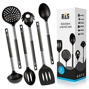 Kitchen Utensils - 6-Piece Black Kitchen Utensils Set - Nylon Cooking Utensils - Kitchen Tools Gadgets