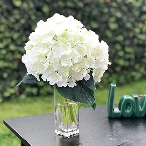 Amazon Com Enova Home Artificial Hydrangea Silk Flowers Bouquet Flower Arrangements With Vase For Home Wedding Decoration Flower With Glass Vase Home Kitchen
