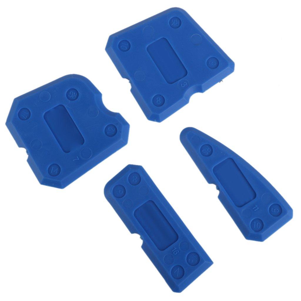 Kit 4pcs Outils de Calfeutrage Grattoir pour Joint Mastic Silicone Coulis Remover Bleu
