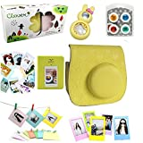 CLOVER Accessory Bundles Set For Fujifilm Instax Mini 8 Instant Camera (Yellow Heart Case Bag/ Album/ Rabbit Self-Portrait Mirror/ Close-Up Lens Filter/ Photo Frame/ Decor Sticker/ Wall Hang Frame)