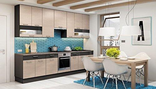 Komplett Küche 310cm Schränke XL PINIA CHAMPAIGN/GRAU durchgehende ...