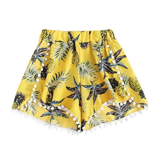 Women Ladies Pineapple Printing Loose Elastic Waist Shorts Wide Leg Lounge Pants Flowy Beach Youth Girls (Yellow, M)