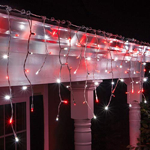 70 5mm LED Red and Cool White Icicle Lights, 7 on White Wire, Red and White Christmas Lights Outdoor Icicle Red White Christmas Lights (5mm Lights, Red/Cool White)