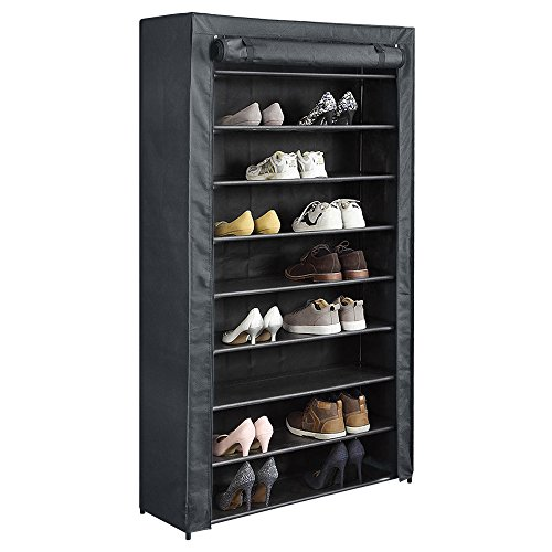 HOME BI 10 Tiers Shoe Rack with Cover, Shoe Storage Closet Organizer, 34.64 x 11.8 x 61inch (Black) by HOME BI