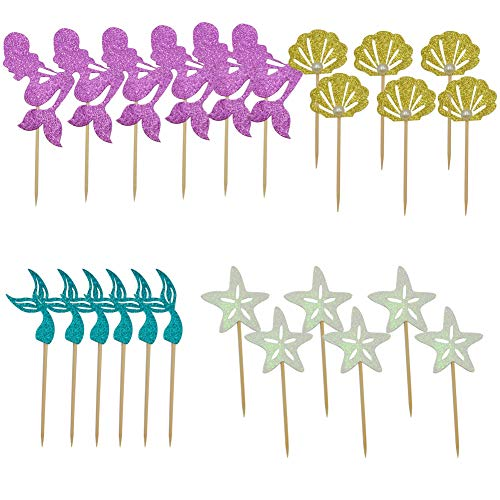 48 Pack Mermaid Cupcake Toppers + Wrappers for Birthday Party Supplies,Baby Shower, Cake Decoration by Sunnycows (Image #4)'