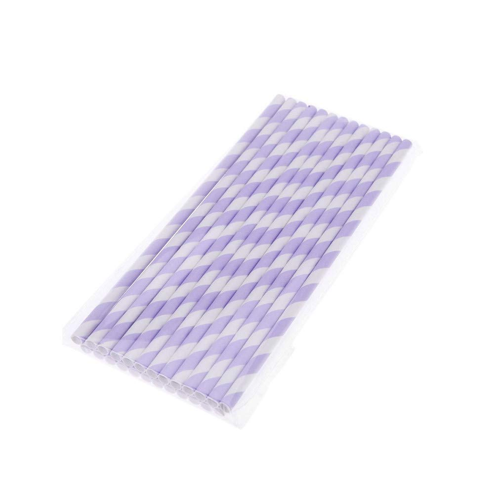 20 Pcs Disposable Drink Paper Straws,Coffee Shop Library Tea Shop Supplies Theme Drinking Rainbow Straws (Purple)