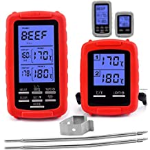 Wireless Meat thermometer - digital grill oven or smoker remote food thermometers, Wireless Accessories for Safe Remote BBQ Grilling, Kitchen Cooking, Smokers and You Can Even Make Candy (Red)