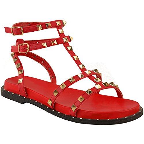 Heelberry Fashion Thirsty Sandalias De Gladiador Tiras Mujer Planas hxsdtQrC