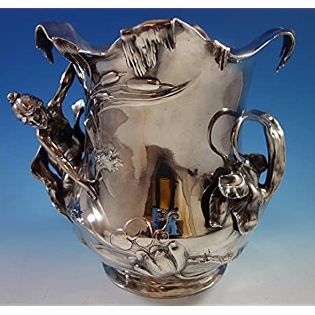 WMF Art Nouveau Silverplate Wine Champagne Cooler 3 D Figural 1694 Lovely