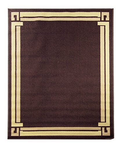 Adgo Collection Brown Contemporary BordeChocolate Brown Design Rubber-Backed Non-Slip Non-Skid Easy Clean Area Rugs Mat, Chocolate Brown , 3'3