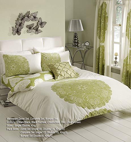 Lamour New Floral Print Designs Poly Cotton Duvet Quilt Covers Reversible Bedding Decor (Manhattan Cream Green, King)