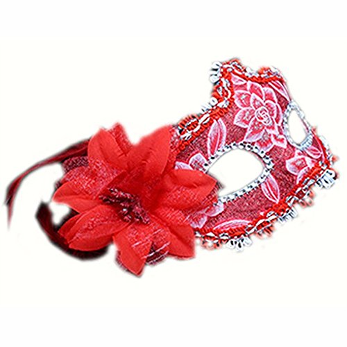 Mardi Gras Party Masquerade Mask,Halloween Male mask Female Children cos Adult Makeup Dance Sexy Half face red Prom Masks]()