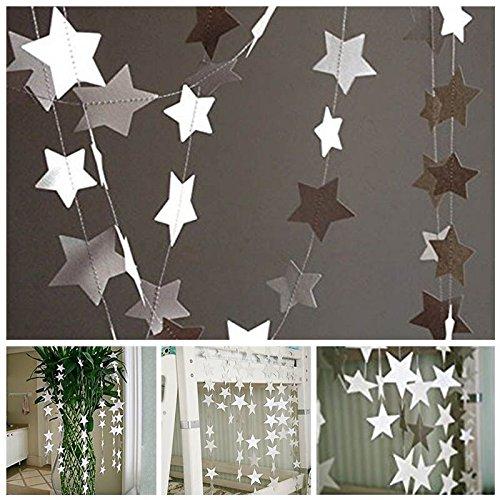 jijAcraft 2Pcs 13Feet Five-pointed Star String Banner, Star Paper Garland Hanging Decoration Wedding Birthday Party Baby Shower Background Decorative(Silver)