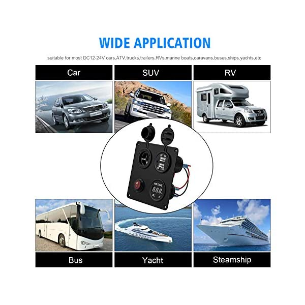 51Q7btRScaL TR Turn Raise Dual USB Ladegerät Aluminium Schalter Panel, LED Voltmeter, 12V Steckdose + ON/OFF Schalter 4 in 1 Panel…
