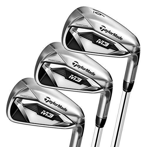 TaylorMade M3 Irons Set (Set of 8 total clubs: 4-PW, AW, Steel Shaft, Left Hand, Stiff Flex)