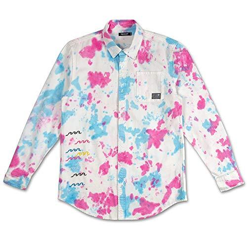 (Pink Dolphin Men's Pastel Denim Long Sleeve Buttondown Shirts Multi L)