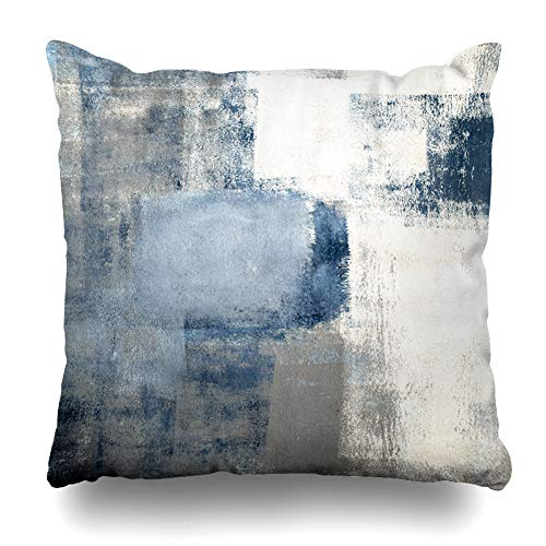ArTmall Throw Pillow Case Gray Contemporary Blue Grey Abstract Painting Lines Modern Office Design Zippered Pillowcase Square Size 16 x 16 Inches Home Decor Cushion Covers