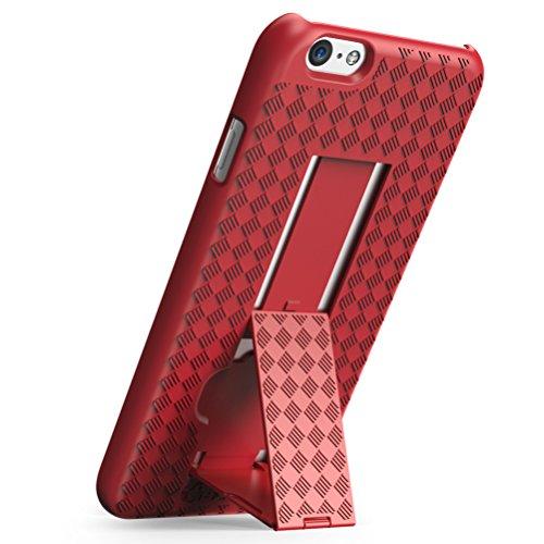 Caja / Funda / Carcassa / cover / cubierta / case iPhone 6s, i-Blason® [transformer] iPhone 6 Plus / 6s caja delgado con cáscara dura delgada y de pie pata de cabra (negro) rojo