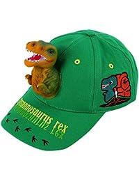 Boy's Sun Hats 3D T-rex Dinosaur Baseball Caps Cotton Funny Snapback Birthday Crazy Hats for Boys Kids Green