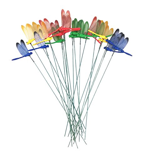 yueton 20pcs Garden Yard Planter Colorful Whimsical Dragonfly Lawn Stakes Garden Ornaments & Patio ()