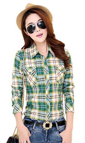 Longues Slim Manches Chemise Femme Carreaux Casual Xiang Ru Vert aux Blouse 5OXnxqYA