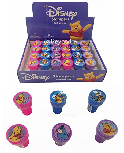 Brand New Disney Winnie the Poo Self-inking Stamps Birthday Party Favors 24 Pieces (Complete Box) by Disney